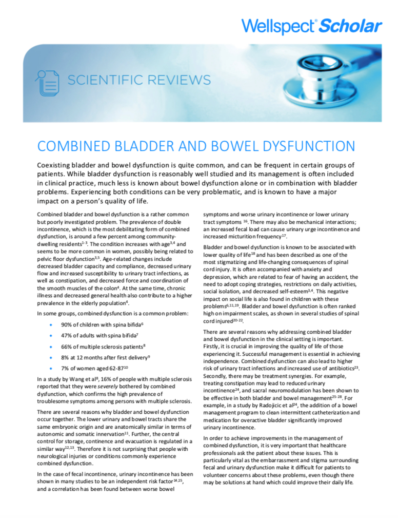Combined bladder and bowel dysfunction