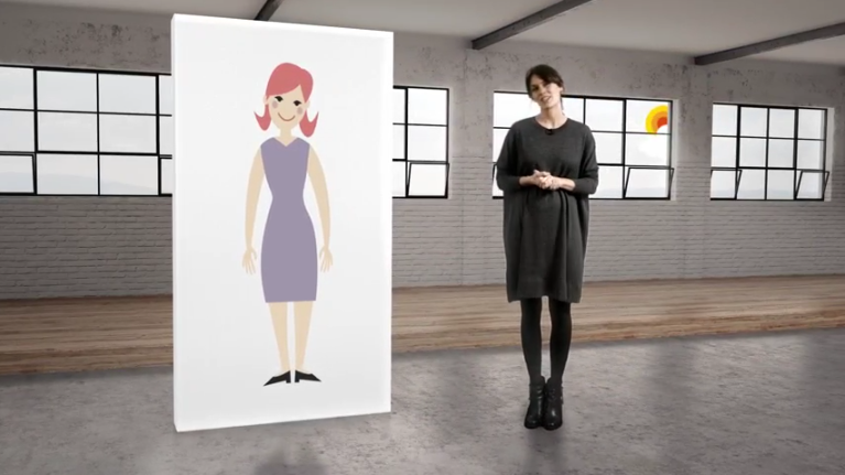 Wellspect Lofric woman standing next to a large illustration